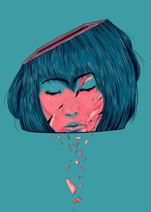 Crying girl illustration by Carolina Rodriguez Fuenmayor