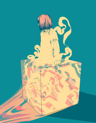 Digital media art of girl