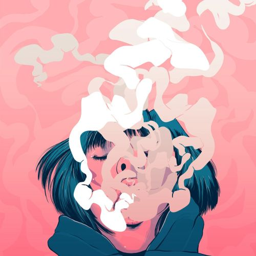 Smoking girl digital art