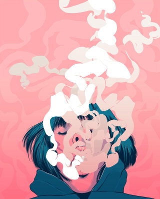 Smoking girl digital art
