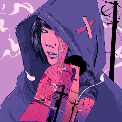 Graphic girl in hoodie