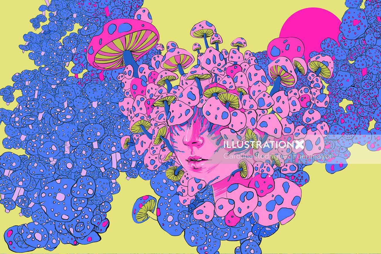 Graphic mushroom girl