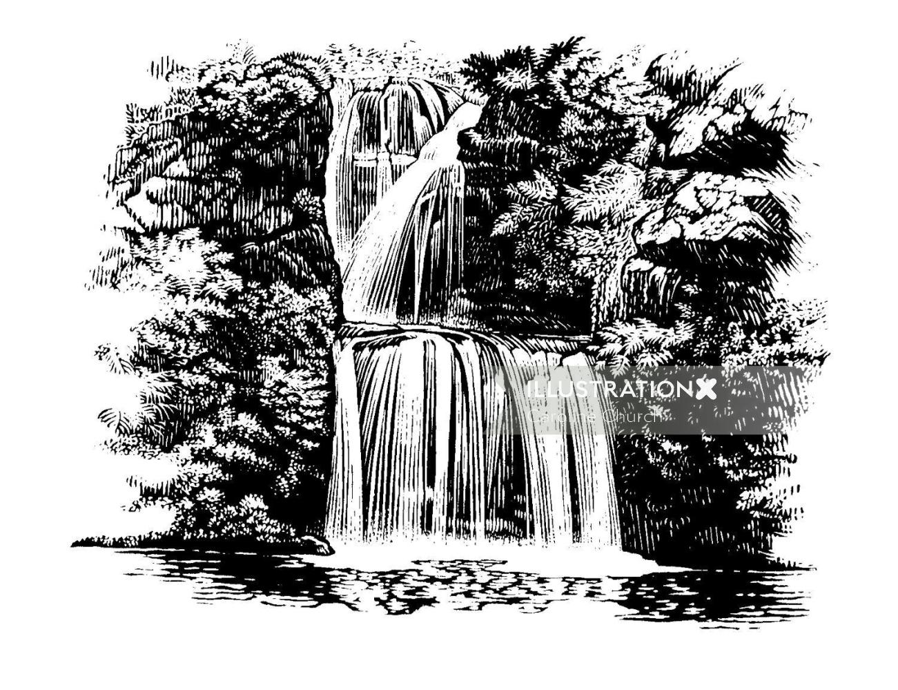 line illustration of waterfall
