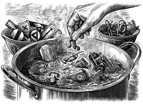 Black and white art of cooking
