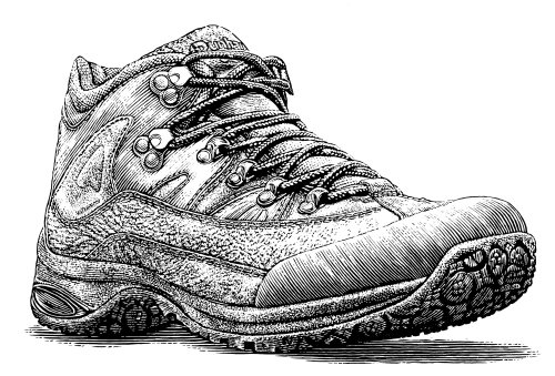 Leather shoes black and white illustration