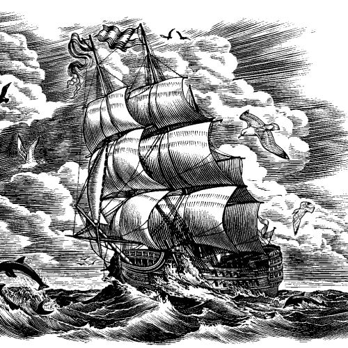 Sailboat black and white illustration