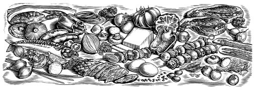 Black and white illustration of vegetables