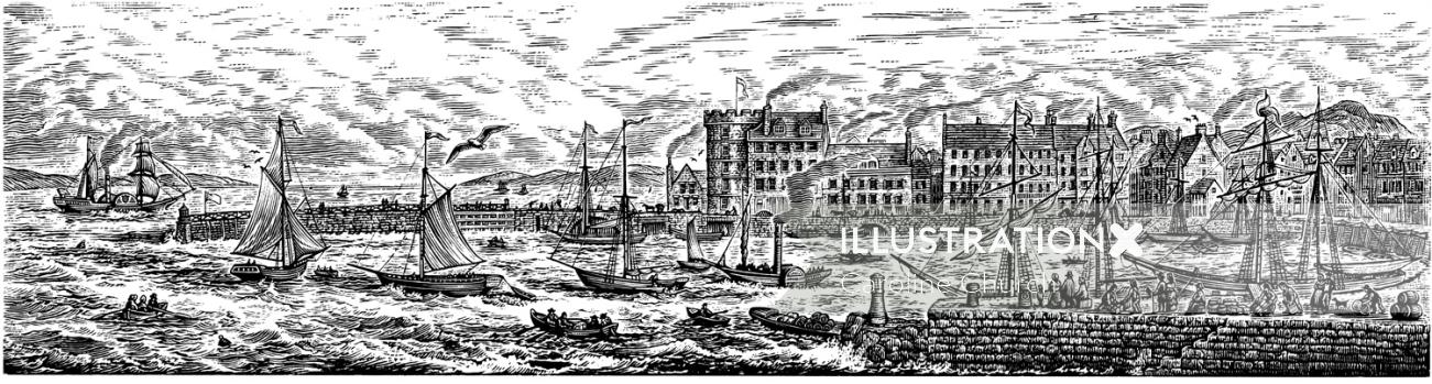 Black and white illustration of port area