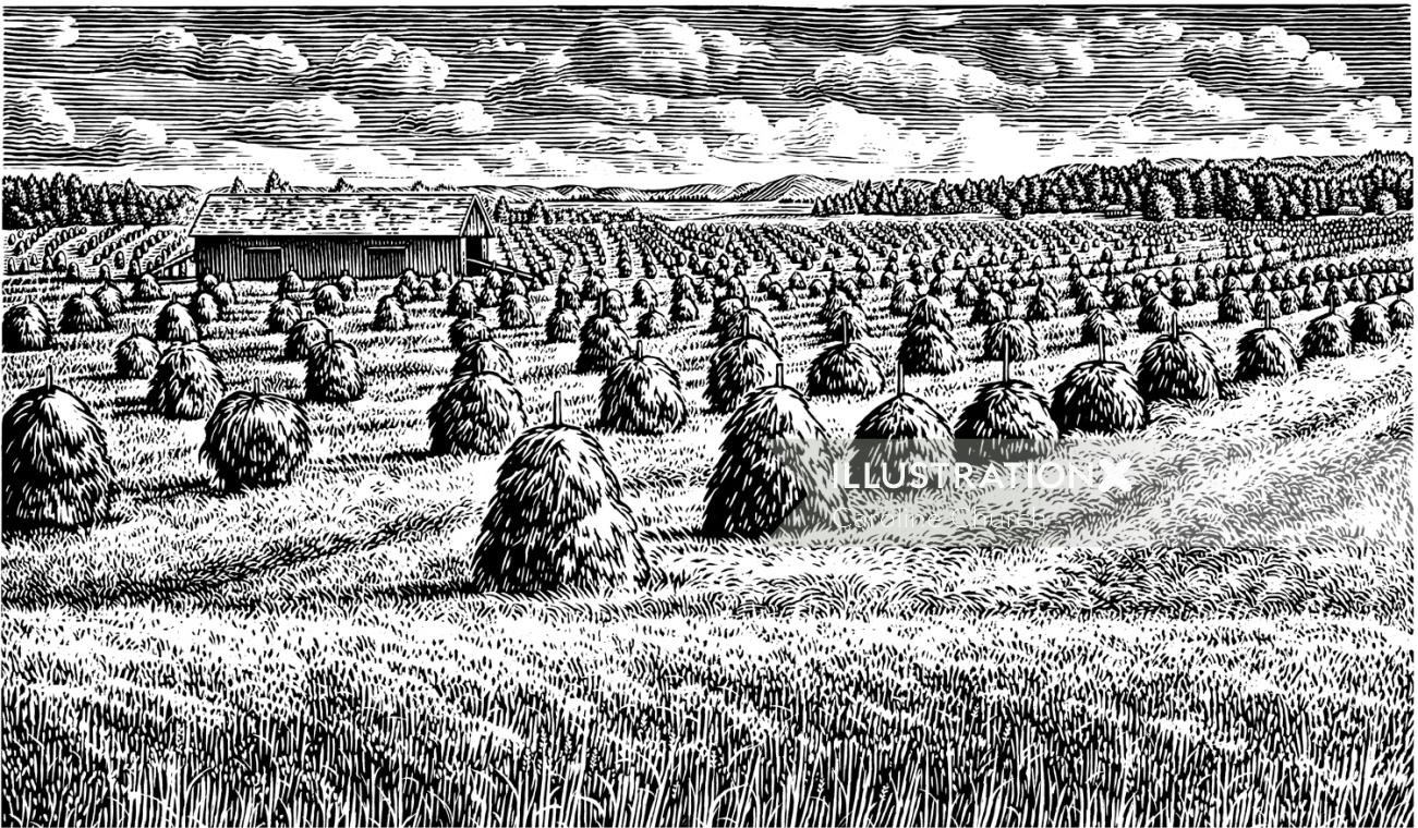 Black and white art of agriculture farm