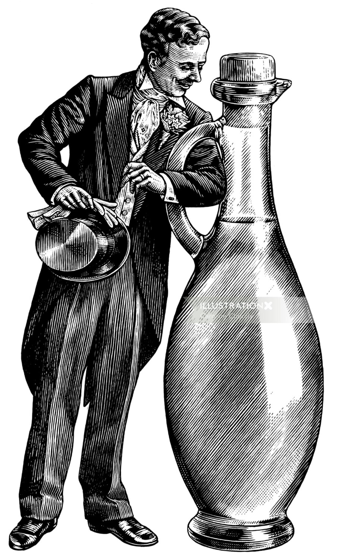 Historical man with wine bottle