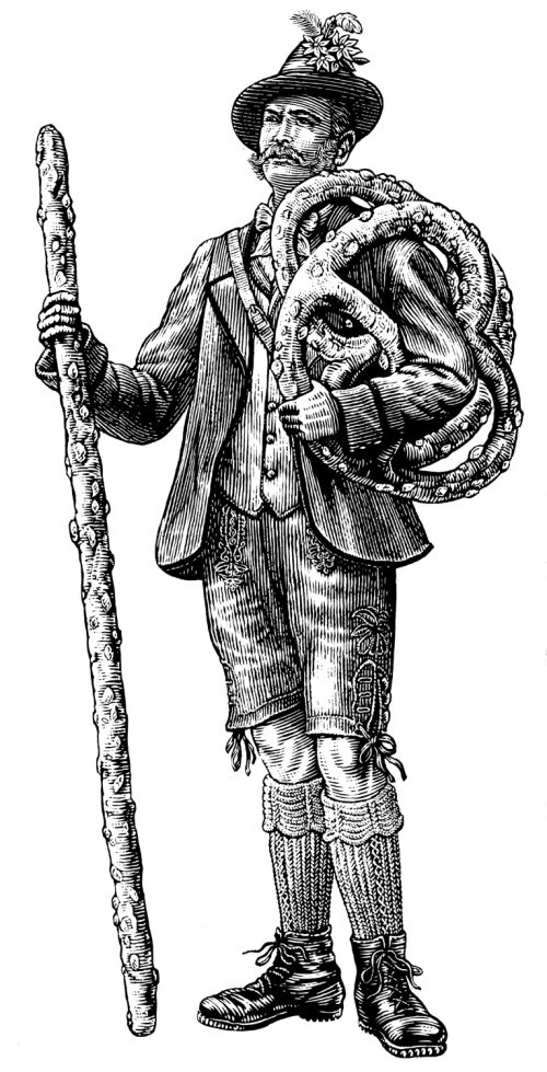Historical man with rope