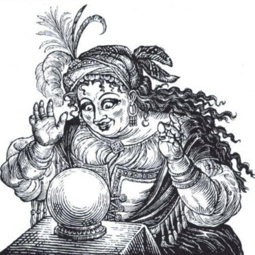 Queen Roma woodcut illustration