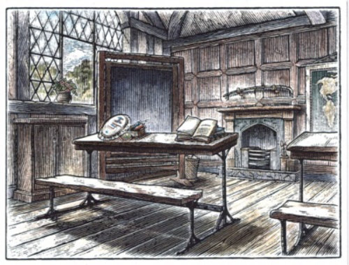 line and wash Victorian Classroom