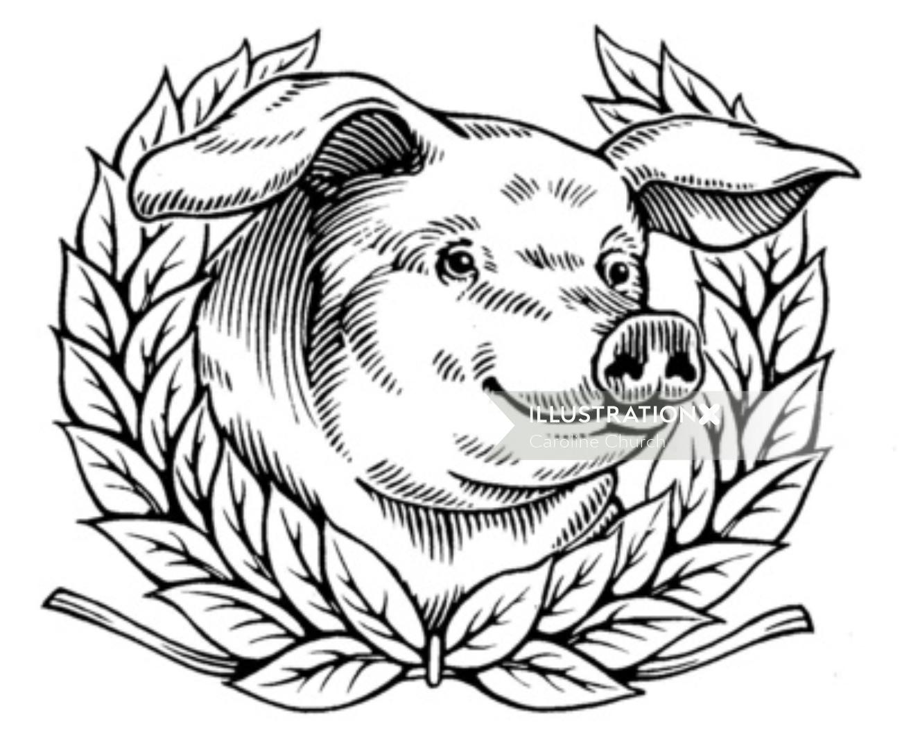 Pig in the style of an engraving