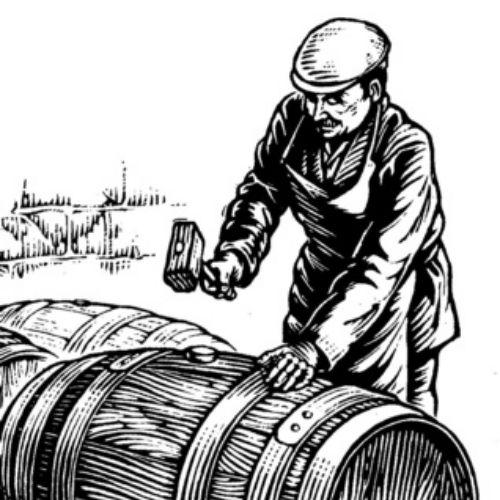 Man hammering a barrel illustration