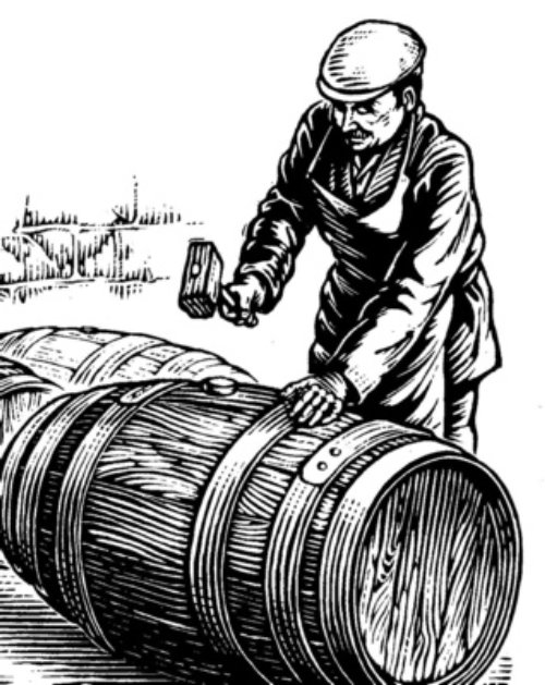 Man hammering a barrel illustration