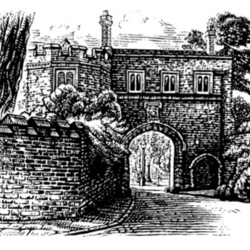 illustration of church drawn in engraving style