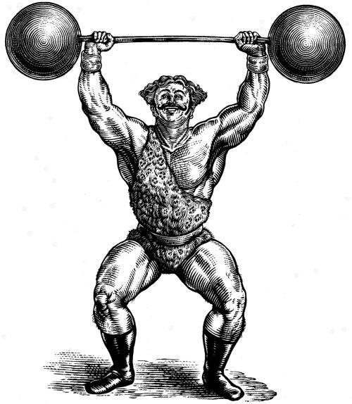 engraving Circus Strongman