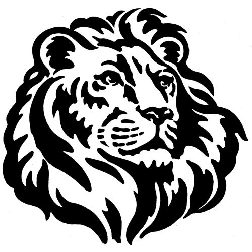 Black and white lion art