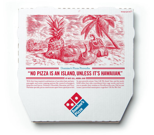 Typography Dominos Pizza box cover