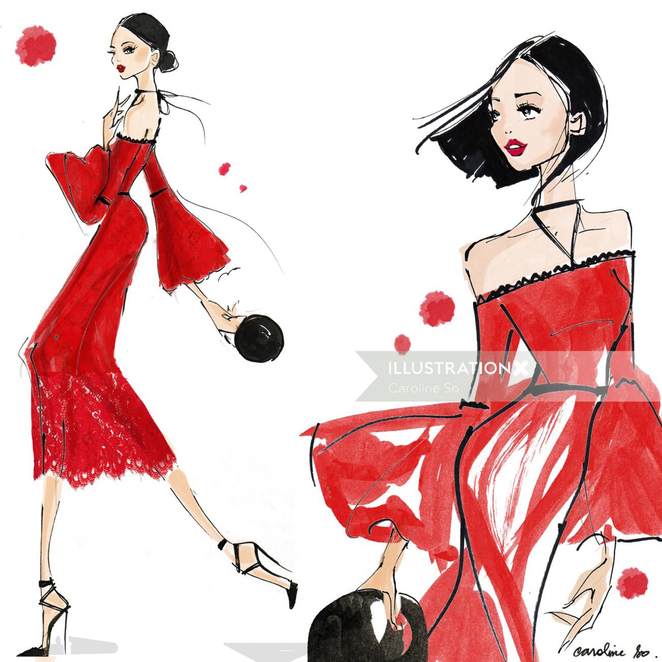 Beautiful Woman Fashion Illustration for Alexis