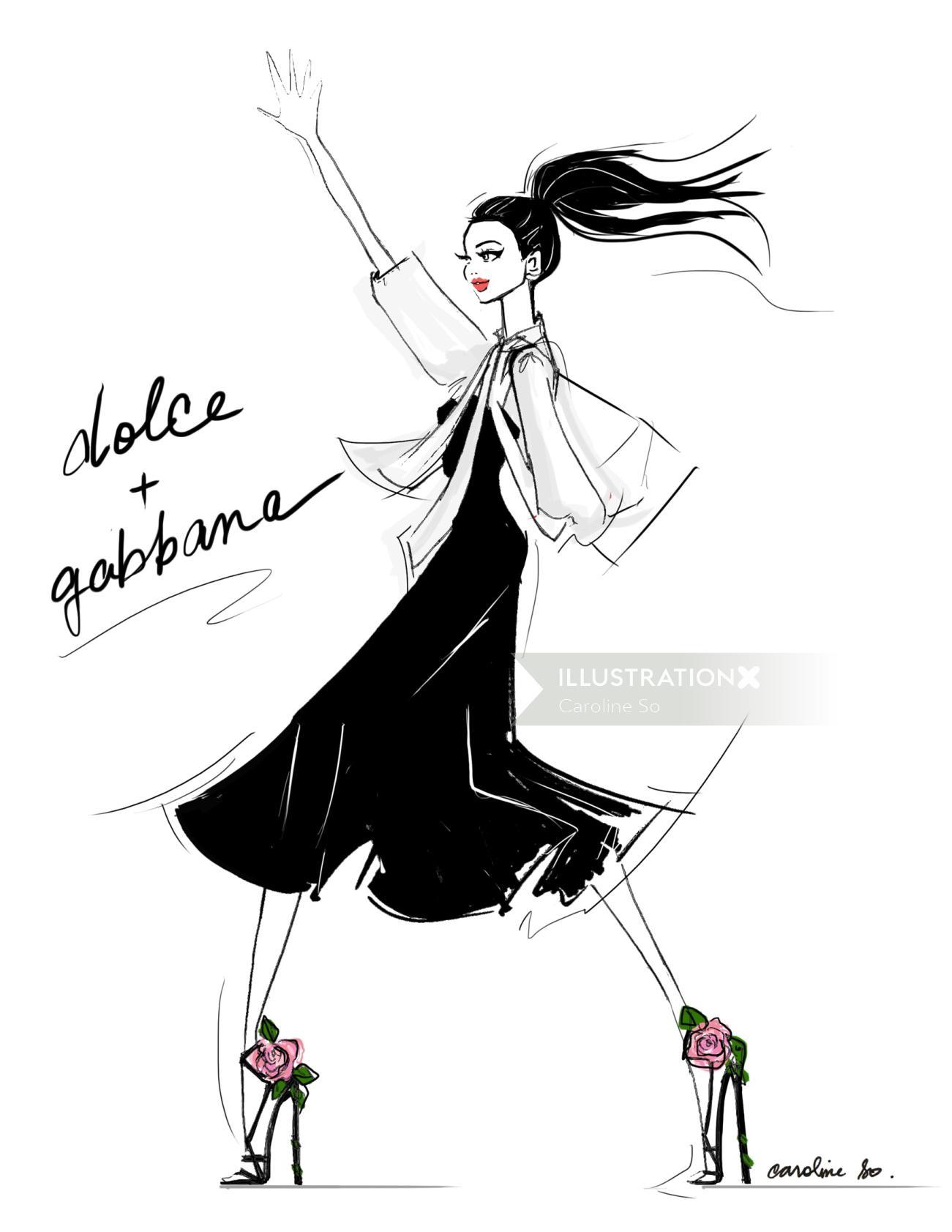 Beautiful fashion woman drawing