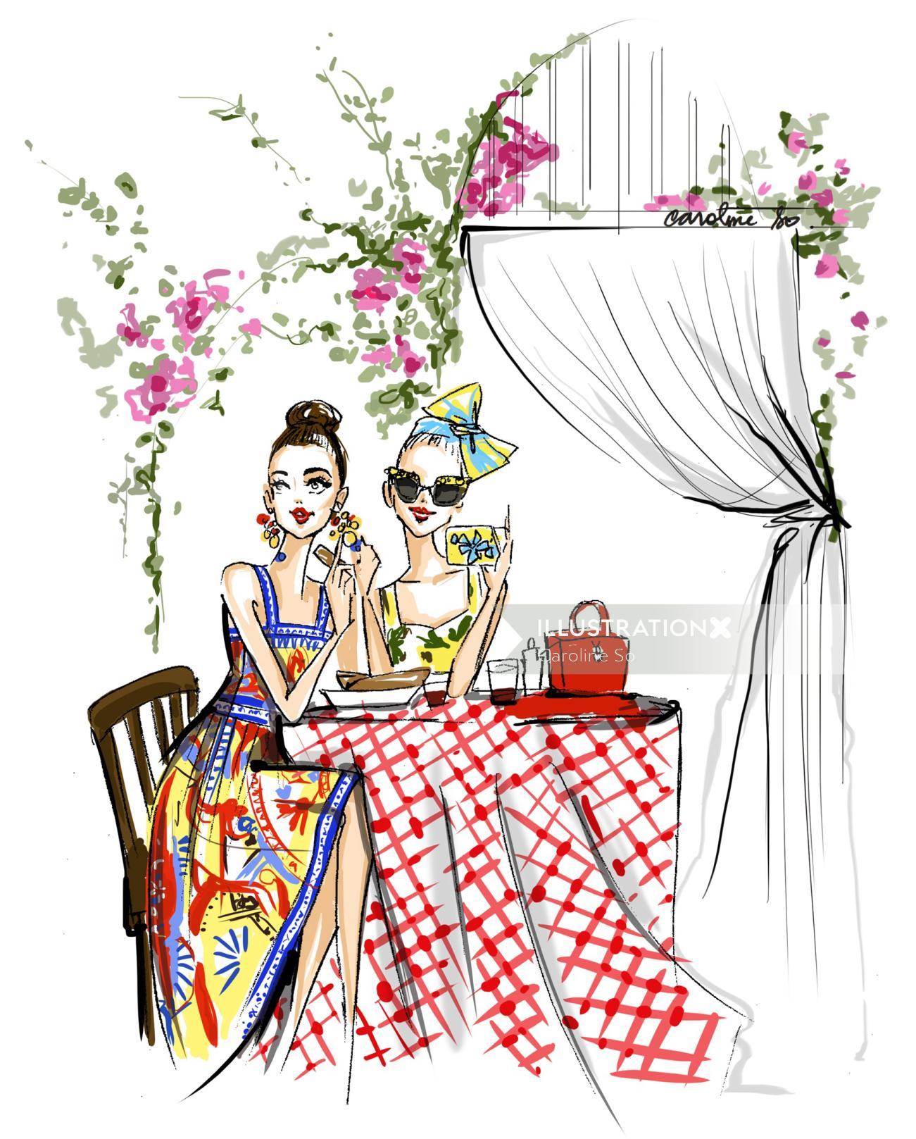 An illustration of fashion girls sitting in restaurant