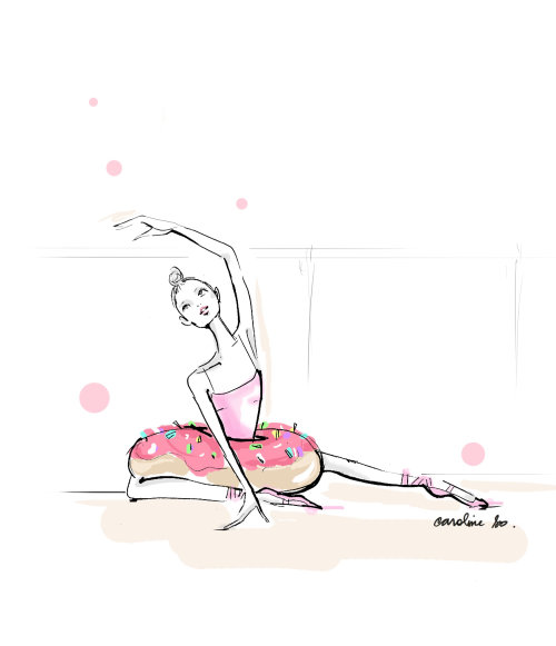 Hand drawn of female ballet dancer