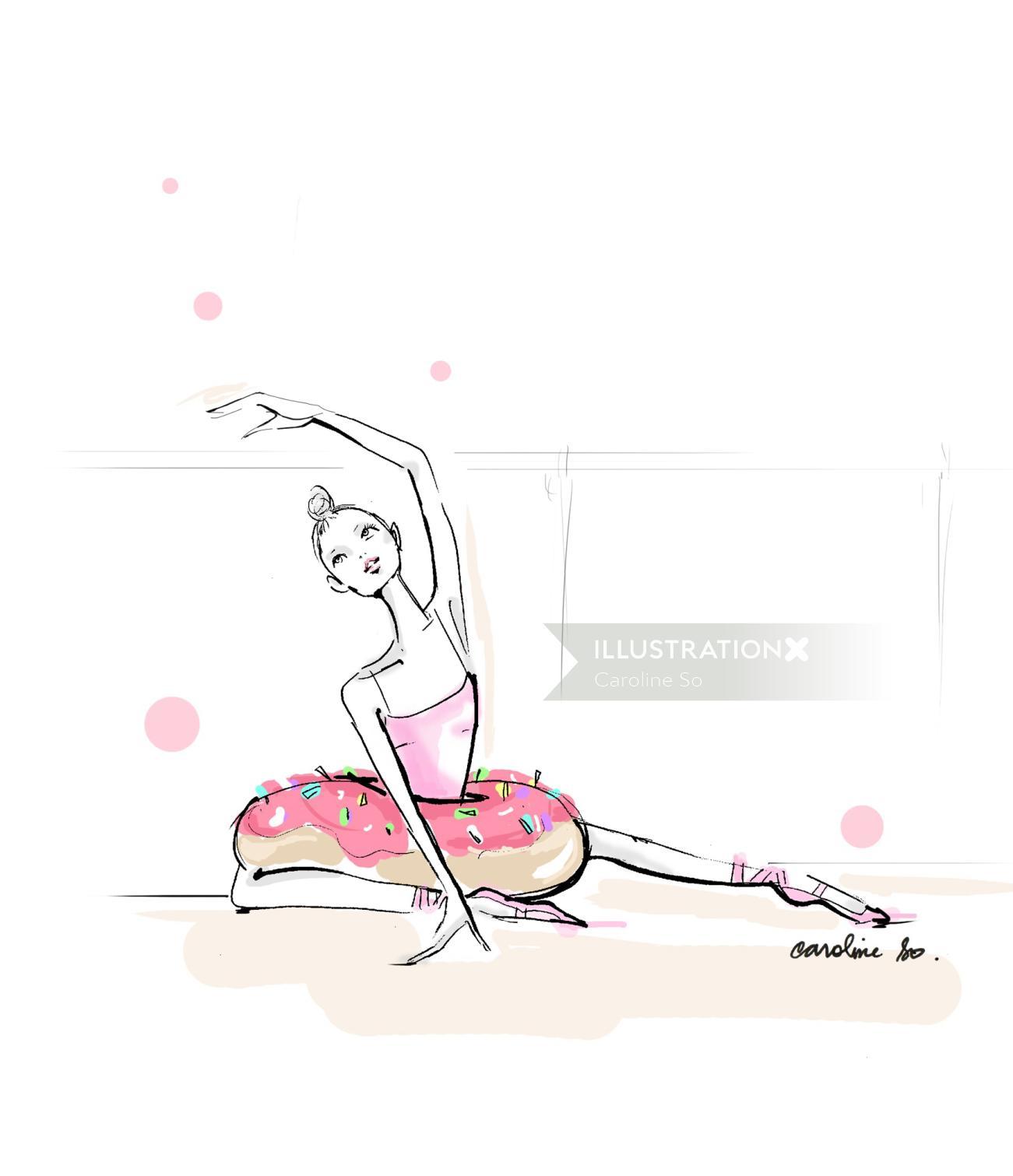 Hand drawn of female ballet dancer