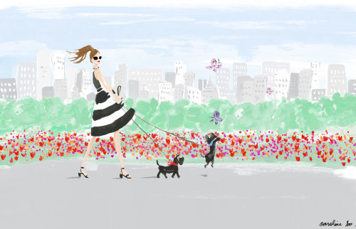 Fashion girl walking with Dogs