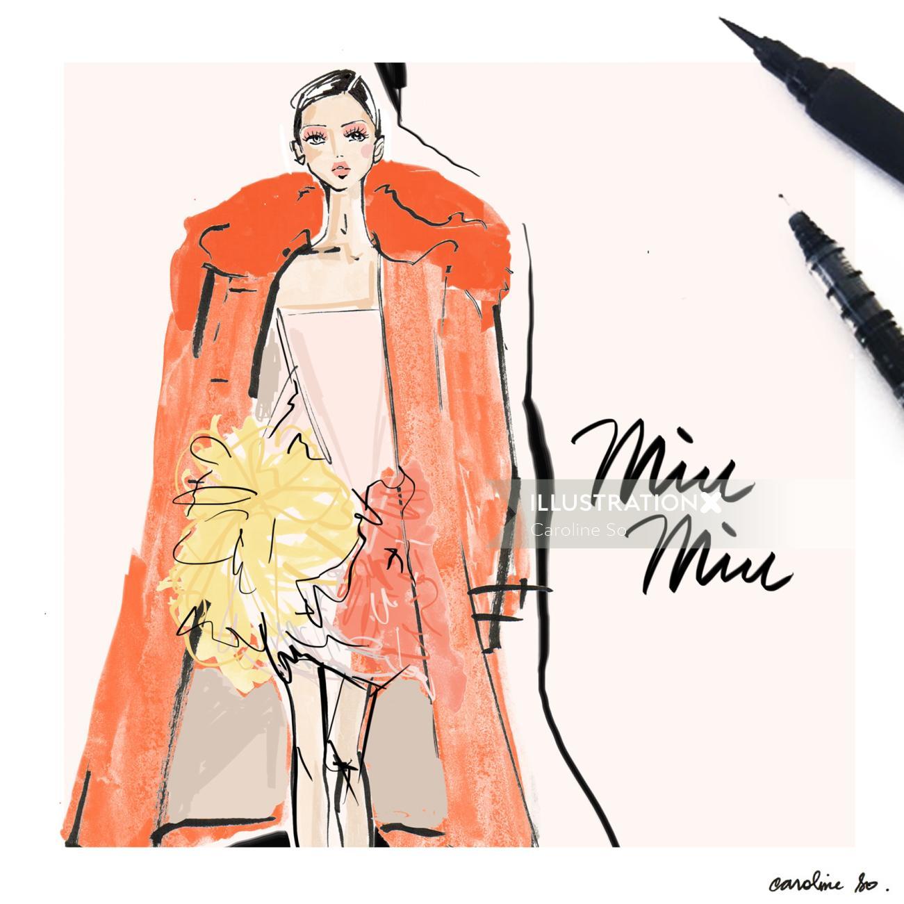 Ink art of fashion girl