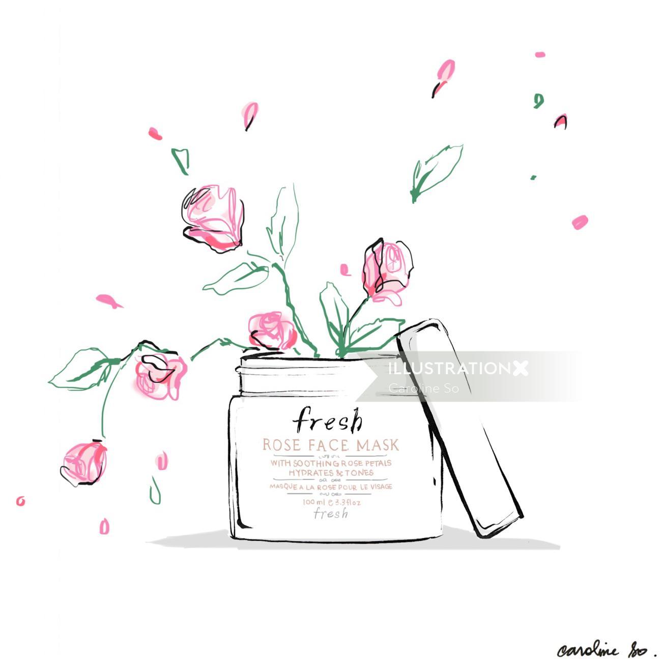 Illustration For Fresh Rose Face Mask