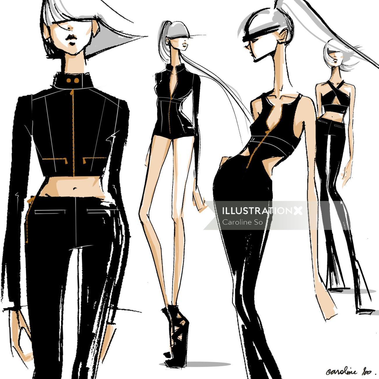 Black & white sketch of fashion girls