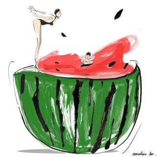 An illustration of woman jumping into watermelon
