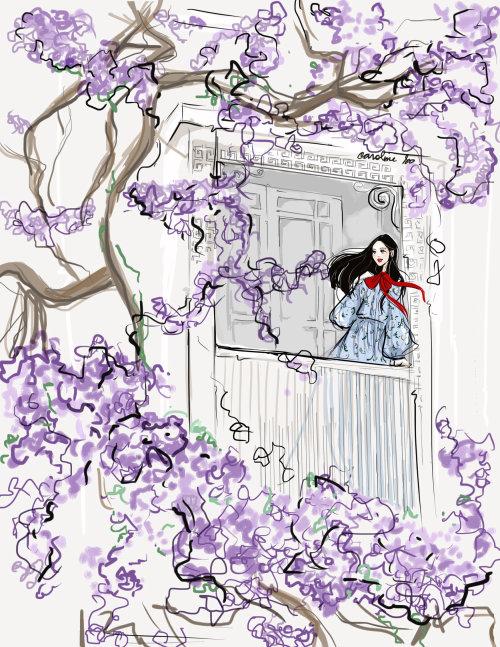 Cartoon girl at the window