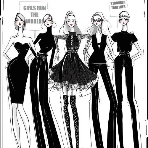 Black & white pencil drawing of fashion girls