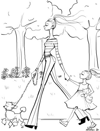 Line drawing of mother and daughter