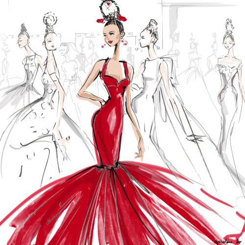Fashion girls line art