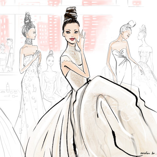 Fashion girls line and color art