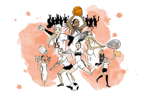 Editorial illustration of women sports players