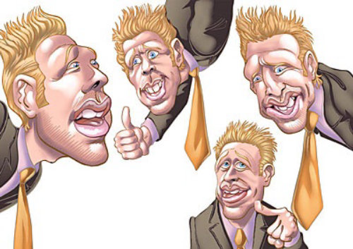 Different poses of a smiley man