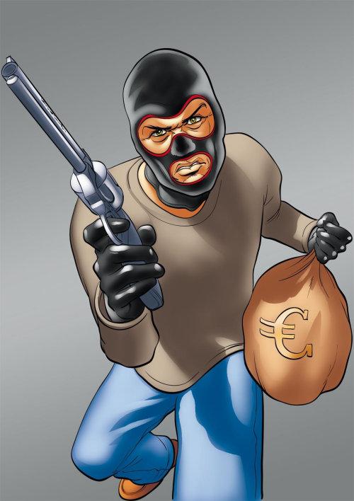 Bandit with euro bag