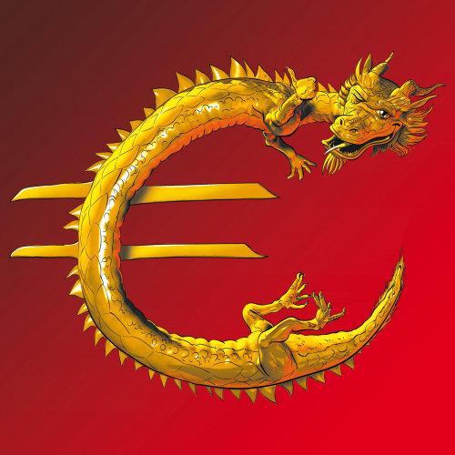 Dragão com forma de sinal euro