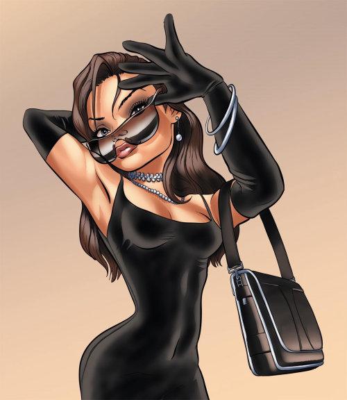Woman dressed in black