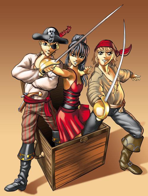 Pirate and treasure box