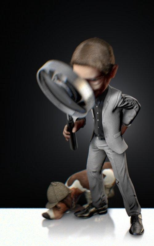 Animação de personagem 3D de um homem e cachorro espionagem