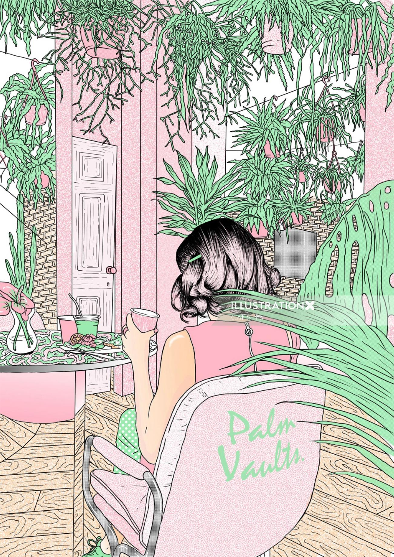Lifestyle illustration of a lady in Palm Vaults cafe
