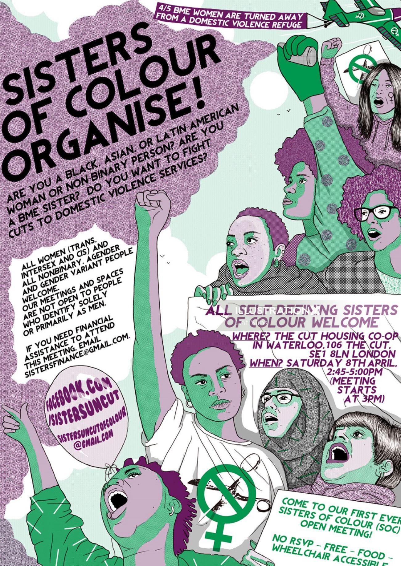 Sisters Uncut event poster design