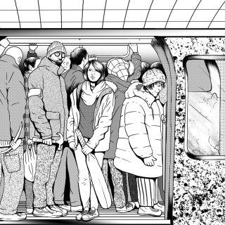 Black & White illustration of crowd in metro