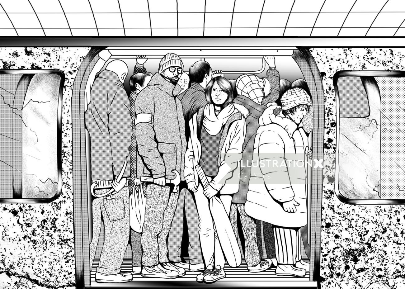 Black & White illustration of crowd in metro